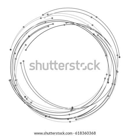 Vector abstract circle with dots. Hand drawn sketch lines. Black round shape. Monochrome frame. Isolated stroke design. Twist outline curves illustration. Pencil drawn circle. Twisted shape.