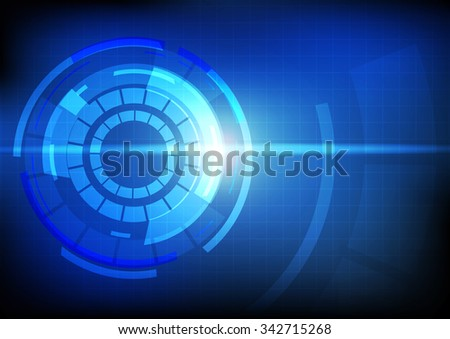 Vector : Abstract circle with grid on blue technology background - stock vector