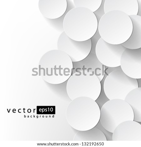 Vector Abstract Circles with drop shadows background design - stock vector