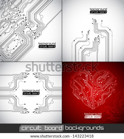 vector abstract circuit board backgrounds set - stock vector