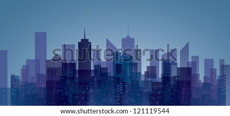 vector abstract city in blue and purple - stock vector