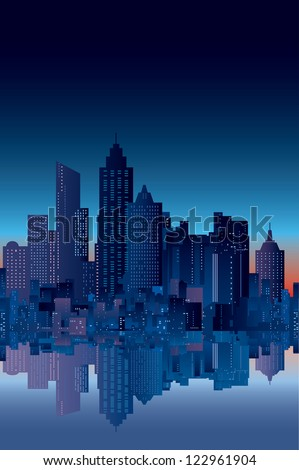 vector abstract city silhouette with reflection in watter - stock vector