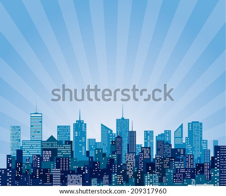 vector abstract cityscape with sun burst - stock vector