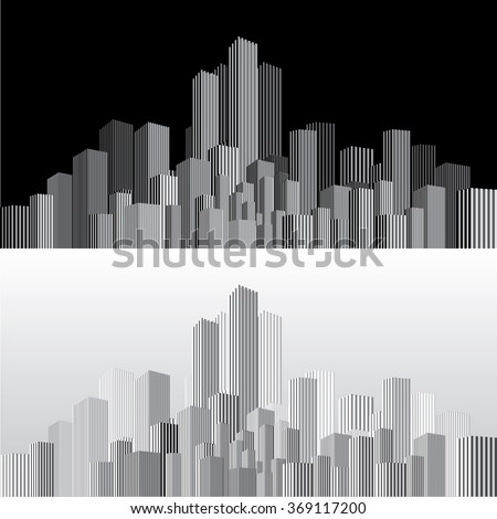vector abstract cityscape with vertical strips in two variations - stock vector