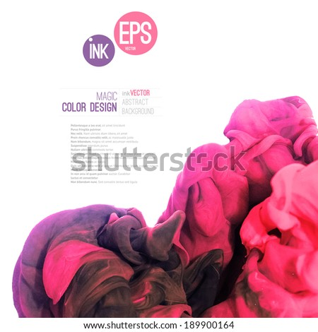 Vector abstract cloud. Ink swirling in water, cloud of ink in water isolated on white. Abstract banner paints. Holi. Pink cloud. Ice cream, vine, painting layout. - stock vector