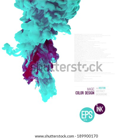 Vector abstract cloud. Ink swirling in water, cloud of ink in water isolated on white. Abstract banner paints. Holi. Mint. - stock vector