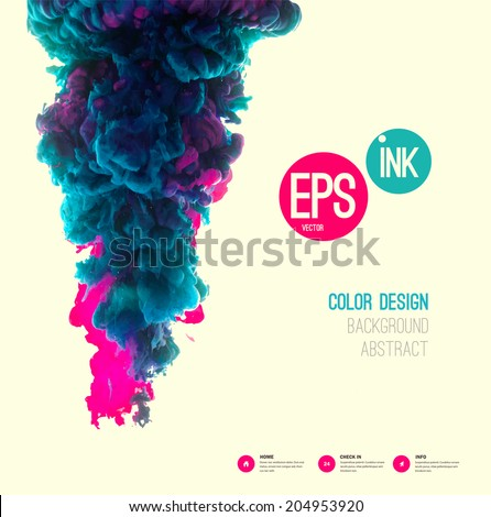 Vector abstract cloud. Ink swirling in water, cloud of ink in water isolated on white. Abstract banner paints. Holi. Liquid ink cloud. Vector abstract background for banner, card, poster, identity,web - stock vector