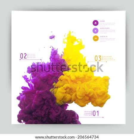 Vector abstract cloud. Ink swirling in water, cloud of ink in water isolated on white. Abstract banner paints. Holi.Banner for your design - stock vector