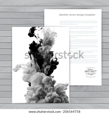 Vector abstract cloud. Ink swirling in water, cloud of ink in water isolated on white. Abstract banner paints. Holi. Black  and white. Wood - stock vector