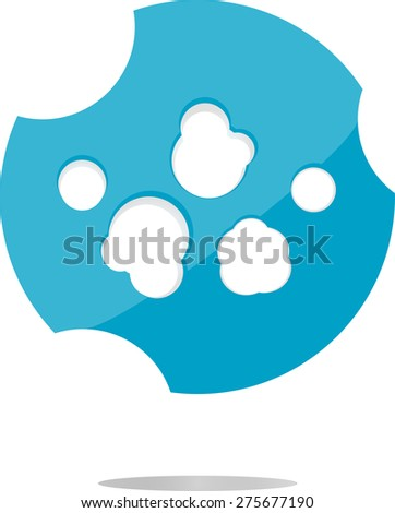 vector abstract cloud web icon, button isolated on white, vector flat web button - stock vector