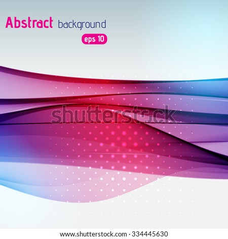 Vector abstract colorful background of lines and waves. Pink, purple, blue colors.  - stock vector