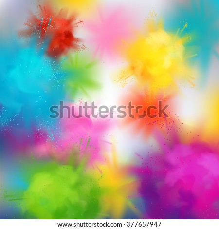 Vector abstract colorful background on spring festival of colors. Multicolored concept illustration with realistic clouds of Holi paint powder - stock vector