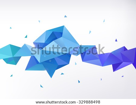 Vector abstract colorful blue faceted crystal banner, 3d shape with triangles, geometric, modern template - stock vector