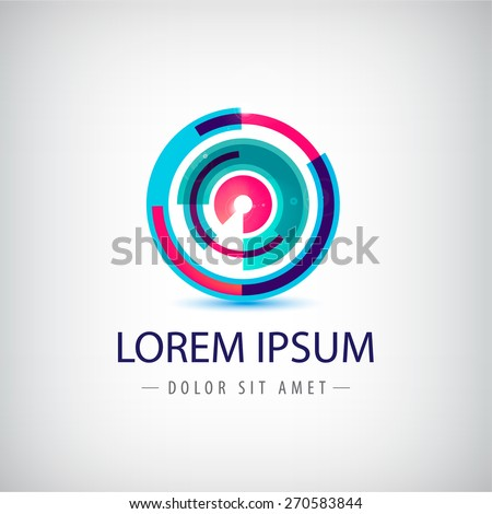 vector abstract colorful circle loop logo, icon isolated - stock vector