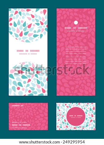 Vector abstract colorful drops vertical frame pattern invitation greeting, RSVP and thank you cards set - stock vector