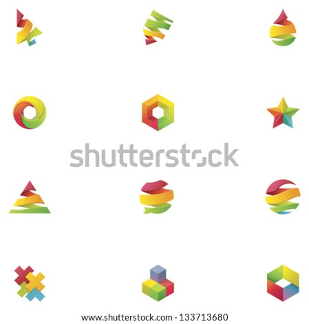 Vector abstract colorful elements - stock vector