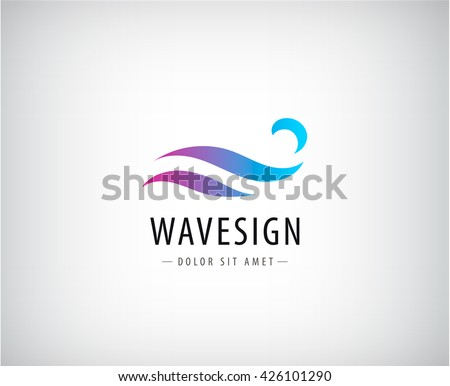 Vector abstract colorful gradient wave logo, splash, water abstract logo, icon isolated. Identity, sign for company, product