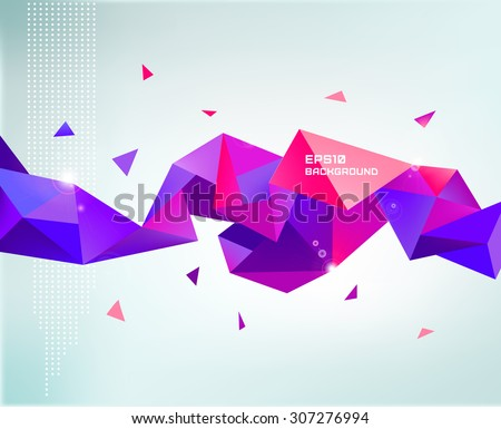 Vector abstract colorful purple faceted crystal banner, 3d shape with triangles, geometric, modern template - stock vector