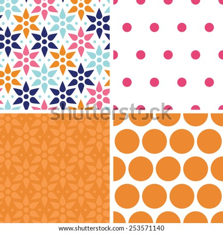 Vector abstract colorful stars set of four marching repeat patterns backgrounds - stock vector