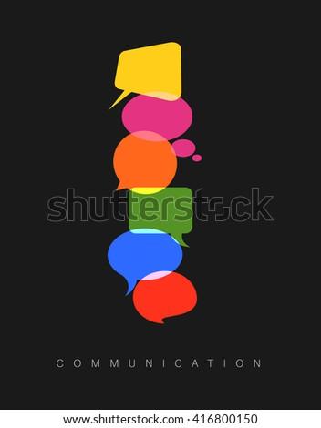 Vector abstract Communication concept illustration - dark vertical communication version - stock vector