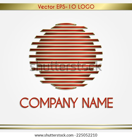 Vector abstract company name red and gold geometric round logo