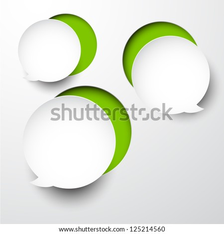 Vector abstract composition of white notched out paper round speech bubble. Eps10 illustration.