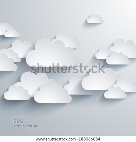 Vector abstract composition with paper clouds - stock vector