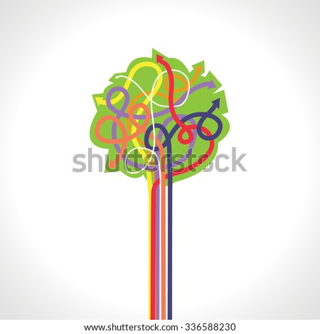 Vector abstract composition with tree made of arrows - stock vector