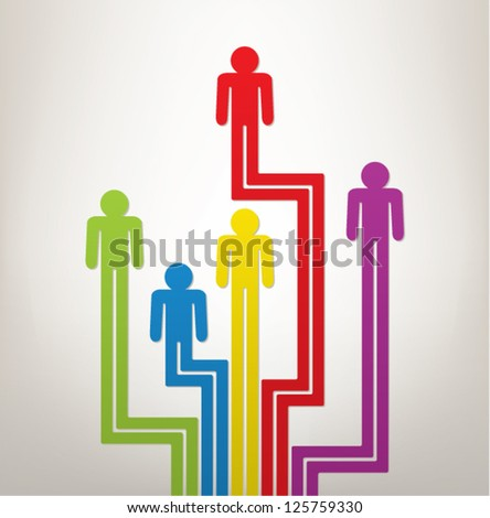 vector abstract concept of generation or leadership with colorful symbols of people - stock vector