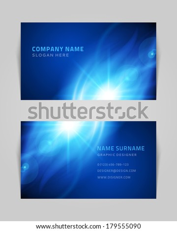 Vector abstract creative business card design template. Light waves background. - stock vector