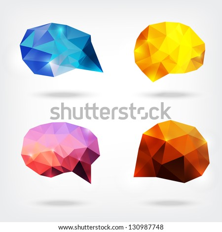 vector abstract crystal speech bubbles or banners - stock vector