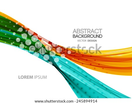 Vector Abstract curved lines background. Template brochure design - stock vector