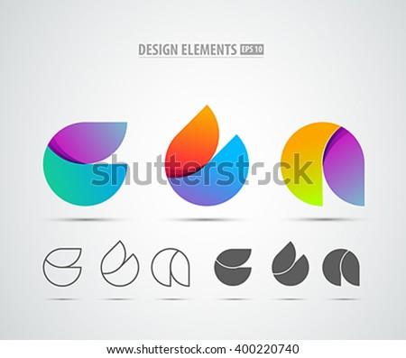 Vector abstract 3d drop logo design elements. Origami. Corporate identity. Application icon design. - stock vector