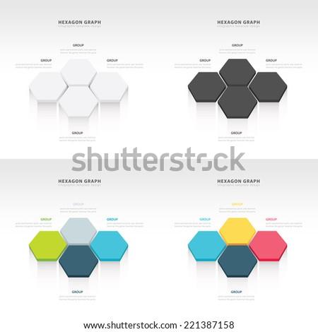 vector abstract 3d hexagonal paper infographic elements set - stock vector