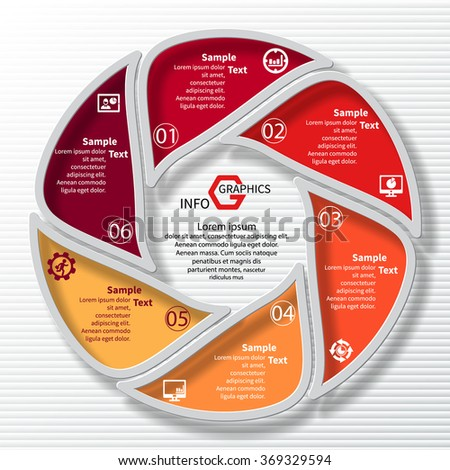 vector abstract 3d paper infographic elements.Circular infographics.6 steps.Red - stock vector