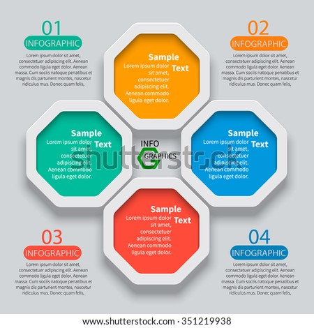 vector abstract 3d paper infographic elements. Octagon infographics - stock vector