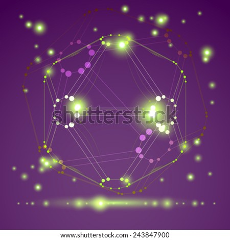 Vector abstract 3D wireframe object, design element template for technology theme projects, clear eps 10. - stock vector