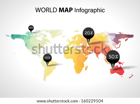 Vector abstract 3d world map, pins. Australia, asia africa usa. Globe world map vector concept icon - stock vector