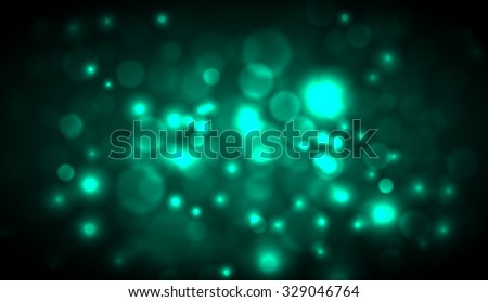 Vector abstract dark blurred lights background. Water drops. Dust. Green background. Cyan background.