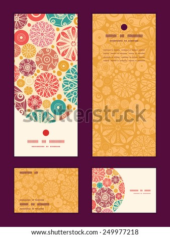 Vector abstract decorative circles vertical frame pattern invitation greeting, RSVP and thank you cards set - stock vector