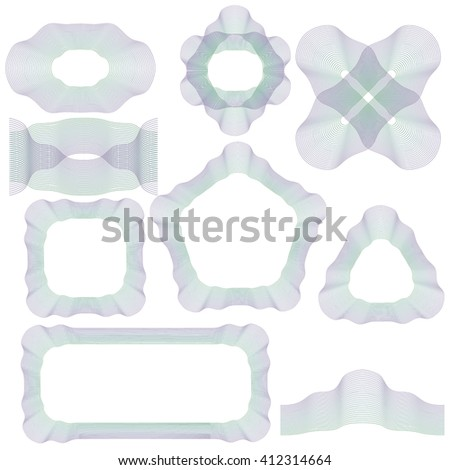 Vector Abstract Decorative Wave Frames Isolated on White Background - stock vector