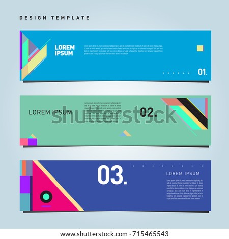 Vector abstract design banner web template. Retro and pop art colorful banner layout.