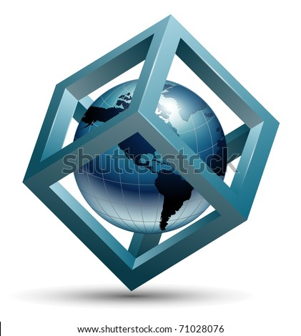 Vector abstract design, 3d cube with earth globe inside. - stock vector
