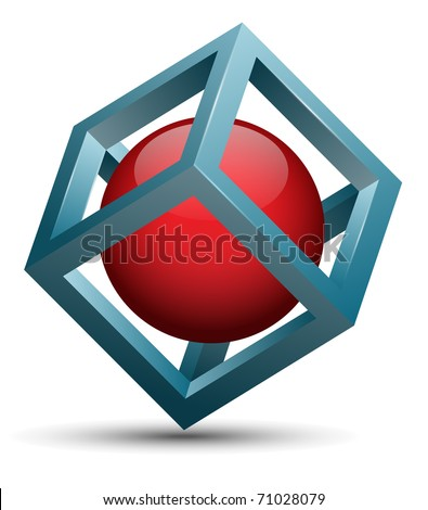 Vector abstract design, 3d cube with sphere inside. - stock vector