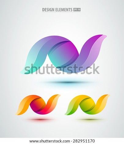 Vector abstract design icons set. Glossy logo abstract shapes