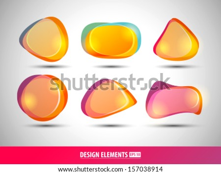 Vector abstract design shapes. Logo elements. Bubbles for web and corporate identity design.  - stock vector