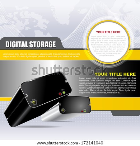 Vector abstract digital background with two hard drives. Can be used for brochures, flyers, ads, posters and other printed materials - stock vector