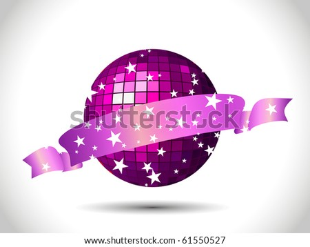 VECTOR Abstract disco background with a beautiful ribbon illustration - stock vector