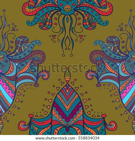 Vector abstract doodle pattern. Seamless pattern with symmetrical elements created for wallpapers design, background, textile, wrapping.