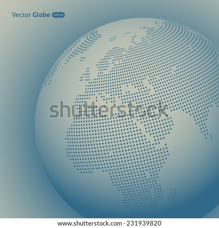 Vector abstract dotted globe, Central heating view on Europe and Africa - stock vector